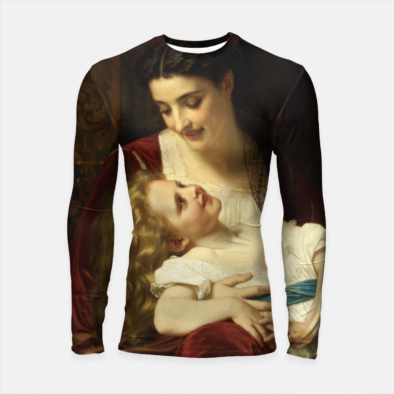 Image of Maternal Affection by Hugues Merle Fine Art Reproduction Longsleeve rashguard  - Live Heroes