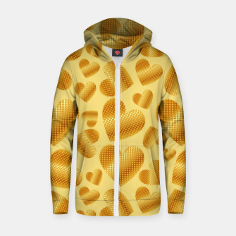 Thumbnail image of An abundance of golden hearts on beige Sudadera con capucha y cremallera , Live Heroes