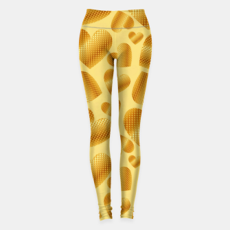 Thumbnail image of An abundance of golden hearts on beige Leggings, Live Heroes