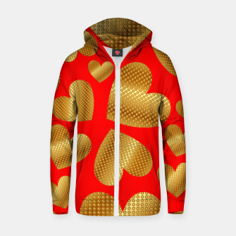 Thumbnail image of An abundance of golden hearts on red Sudadera con capucha y cremallera , Live Heroes