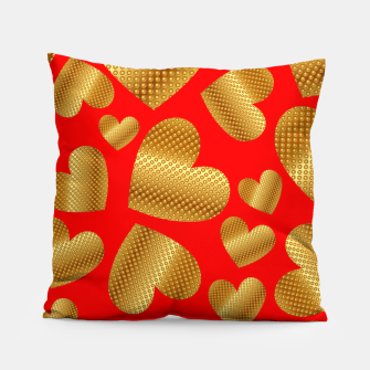 Thumbnail image of An abundance of golden hearts on red Almohada, Live Heroes