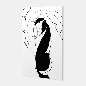Thumbnail image of Woman with Banana Leaves #1 #minimal #line #art Canvas, Live Heroes