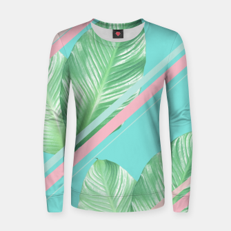 Thumbnail image of Tropical Summer Leaves Stripes - Cali Vibes #1 #tropical #decor #art  Frauen sweatshirt, Live Heroes