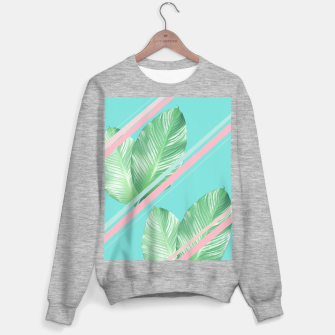 Miniature de image de Tropical Summer Leaves Stripes - Cali Vibes #1 #tropical #decor #art  Sweatshirt regulär, Live Heroes