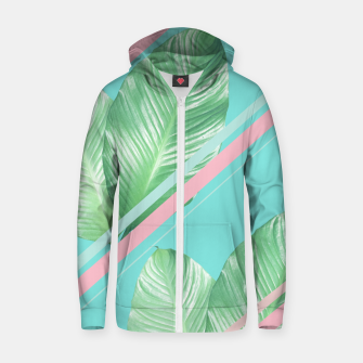Miniature de image de Tropical Summer Leaves Stripes - Cali Vibes #1 #tropical #decor #art  Reißverschluss kapuzenpullover, Live Heroes