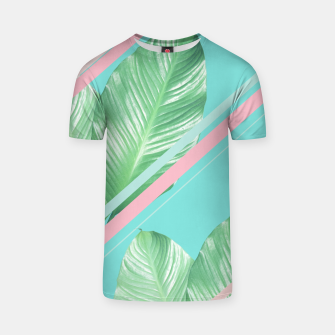 Miniatur Tropical Summer Leaves Stripes - Cali Vibes #1 #tropical #decor #art  T-Shirt, Live Heroes