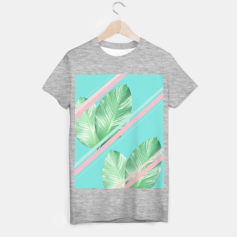 Miniature de image de Tropical Summer Leaves Stripes - Cali Vibes #1 #tropical #decor #art  T-Shirt regulär, Live Heroes