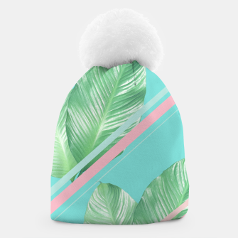 Miniaturka Tropical Summer Leaves Stripes - Cali Vibes #1 #tropical #decor #art  Mütze, Live Heroes