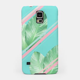 Miniaturka Tropical Summer Leaves Stripes - Cali Vibes #1 #tropical #decor #art  Handyhülle für Samsung, Live Heroes