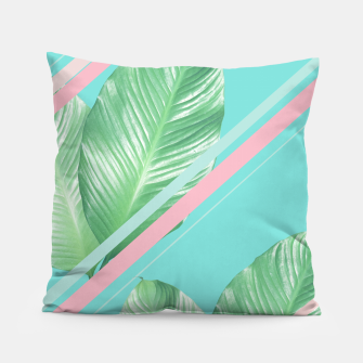 Thumbnail image of Tropical Summer Leaves Stripes - Cali Vibes #1 #tropical #decor #art  Kissen, Live Heroes