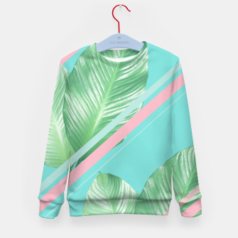 Thumbnail image of Tropical Summer Leaves Stripes - Cali Vibes #1 #tropical #decor #art  Kindersweatshirt, Live Heroes