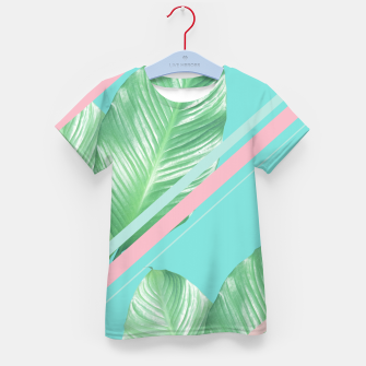 Miniaturka Tropical Summer Leaves Stripes - Cali Vibes #1 #tropical #decor #art  T-Shirt für kinder, Live Heroes