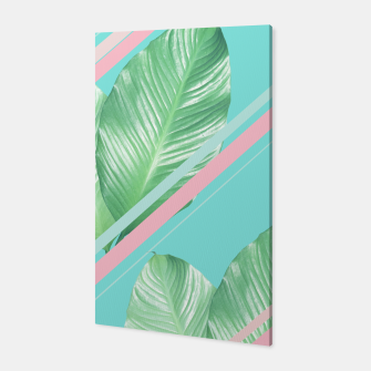 Miniaturka Tropical Summer Leaves Stripes - Cali Vibes #1 #tropical #decor #art  Canvas, Live Heroes