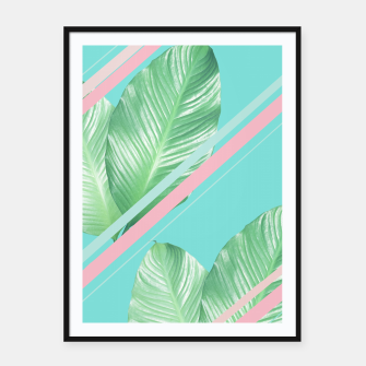 Thumbnail image of Tropical Summer Leaves Stripes - Cali Vibes #1 #tropical #decor #art  Plakat mit rahmen, Live Heroes
