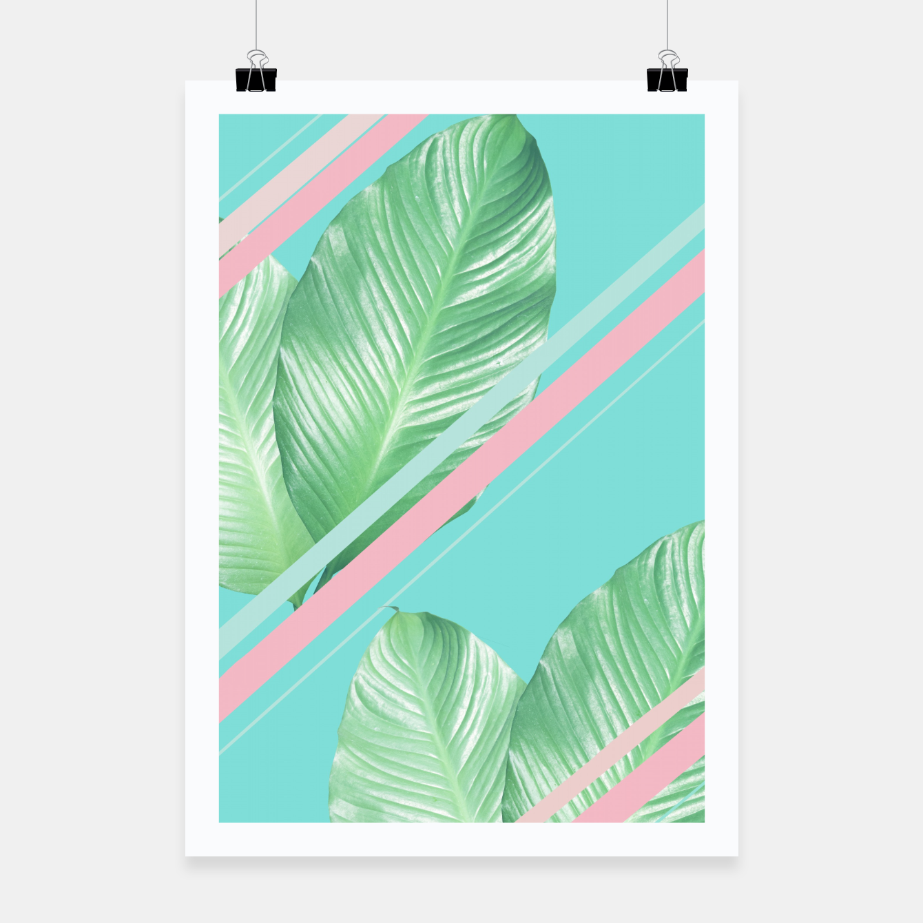 Image of Tropical Summer Leaves Stripes - Cali Vibes #1 #tropical #decor #art  Plakat - Live Heroes