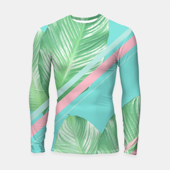 Thumbnail image of Tropical Summer Leaves Stripes - Cali Vibes #1 #tropical #decor #art  Longsleeve rashguard, Live Heroes