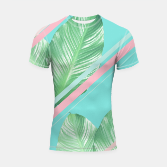 Thumbnail image of Tropical Summer Leaves Stripes - Cali Vibes #1 #tropical #decor #art  Shortsleeve rashguard, Live Heroes