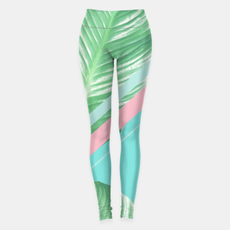 Thumbnail image of Tropical Summer Leaves Stripes - Cali Vibes #1 #tropical #decor #art  Leggings, Live Heroes