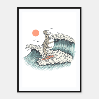 Thumbnail image of Mummy Surfing Framed poster, Live Heroes
