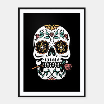 Miniatur Mexican Skull Framed poster, Live Heroes