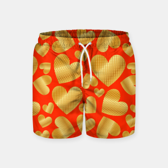 Miniature de image de An abundance of golden hearts on orange Pantalones de baño, Live Heroes