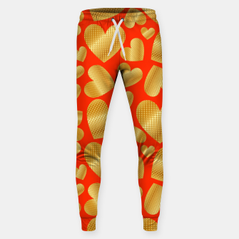 Miniature de image de An abundance of golden hearts on orange Pantalones de chándal , Live Heroes