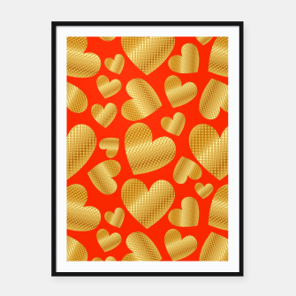 Thumbnail image of An abundance of golden hearts on orange Cartel con marco, Live Heroes
