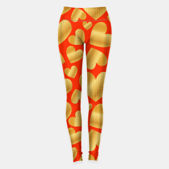 Imagen en miniatura de An abundance of golden hearts on orange Leggings, Live Heroes