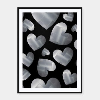 Thumbnail image of An abundance of silver hearts on black Cartel con marco, Live Heroes