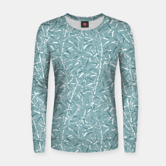 Miniatur Bamboo Forest in Teal Blue Women sweater, Live Heroes