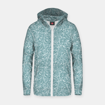 Bamboo Forest in Teal Blue Zip up hoodie Bild der Miniatur