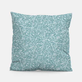 Miniatur Bamboo Forest in Teal Blue Pillow, Live Heroes