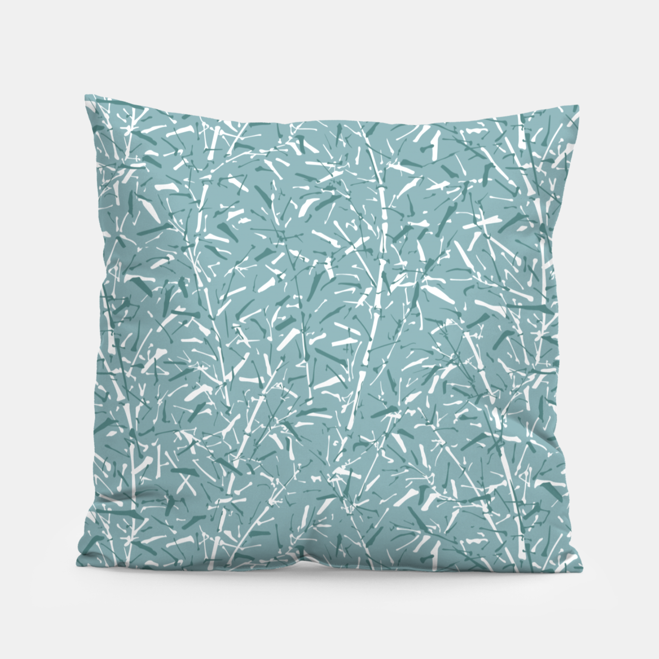 Image de Bamboo Forest in Teal Blue Pillow - Live Heroes