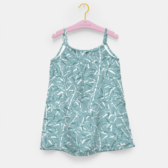 Miniatur Bamboo Forest in Teal Blue Girl's dress, Live Heroes