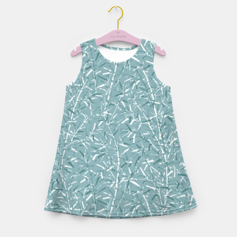 Miniatur Bamboo Forest in Teal Blue Girl's summer dress, Live Heroes