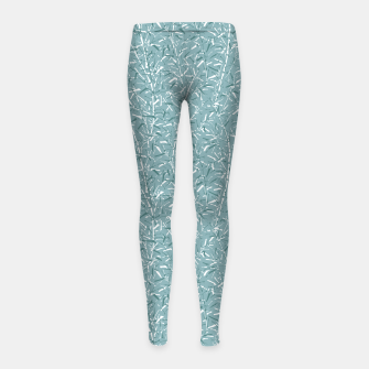 Bamboo Forest in Teal Blue Girl's leggings Bild der Miniatur