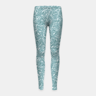 Miniatur Bamboo Forest in Teal Blue Girl's leggings, Live Heroes