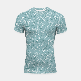 Thumbnail image of Bamboo Forest in Teal Blue Shortsleeve rashguard, Live Heroes