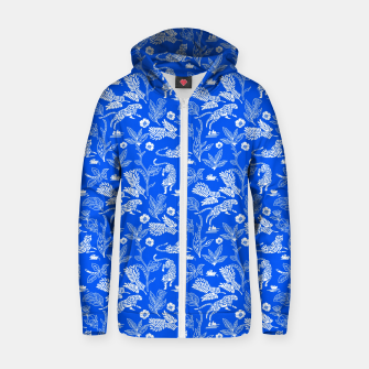 Thumbnail image of Animals in the jungle blue Sudadera con capucha y cremallera , Live Heroes