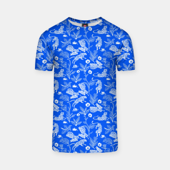 Animals in the jungle blue Camiseta Bild der Miniatur