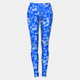 Animals in the jungle blue Leggings miniature