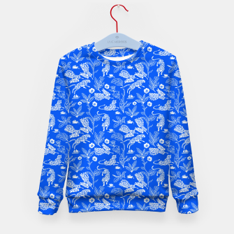 Animals in the jungle blue Sudadera para niños Bild der Miniatur
