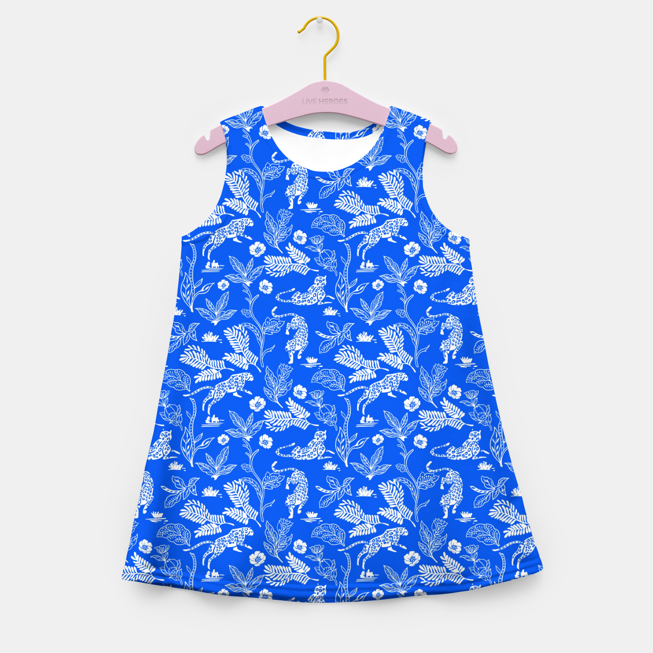 Foto Animals in the jungle blue Vestido de verano para niñas - Live Heroes