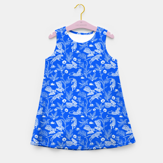 Animals in the jungle blue Vestido de verano para niñas miniature