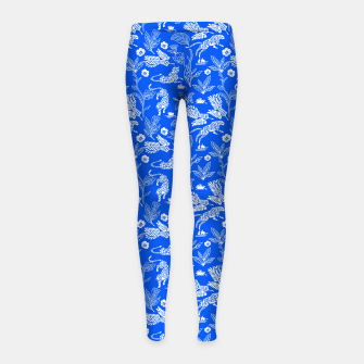 Thumbnail image of Animals in the jungle blue Leggings para niña, Live Heroes