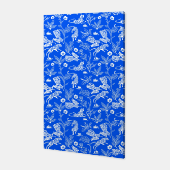 Animals in the jungle blue Canvas miniature