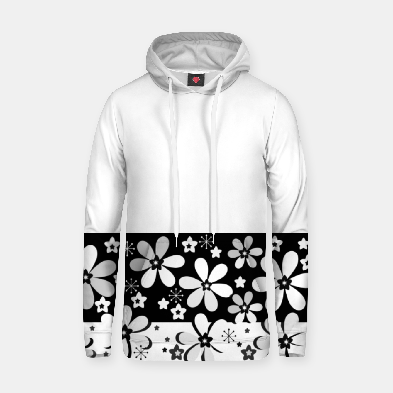 Image of  Black and white daisies Hoodie - Live Heroes