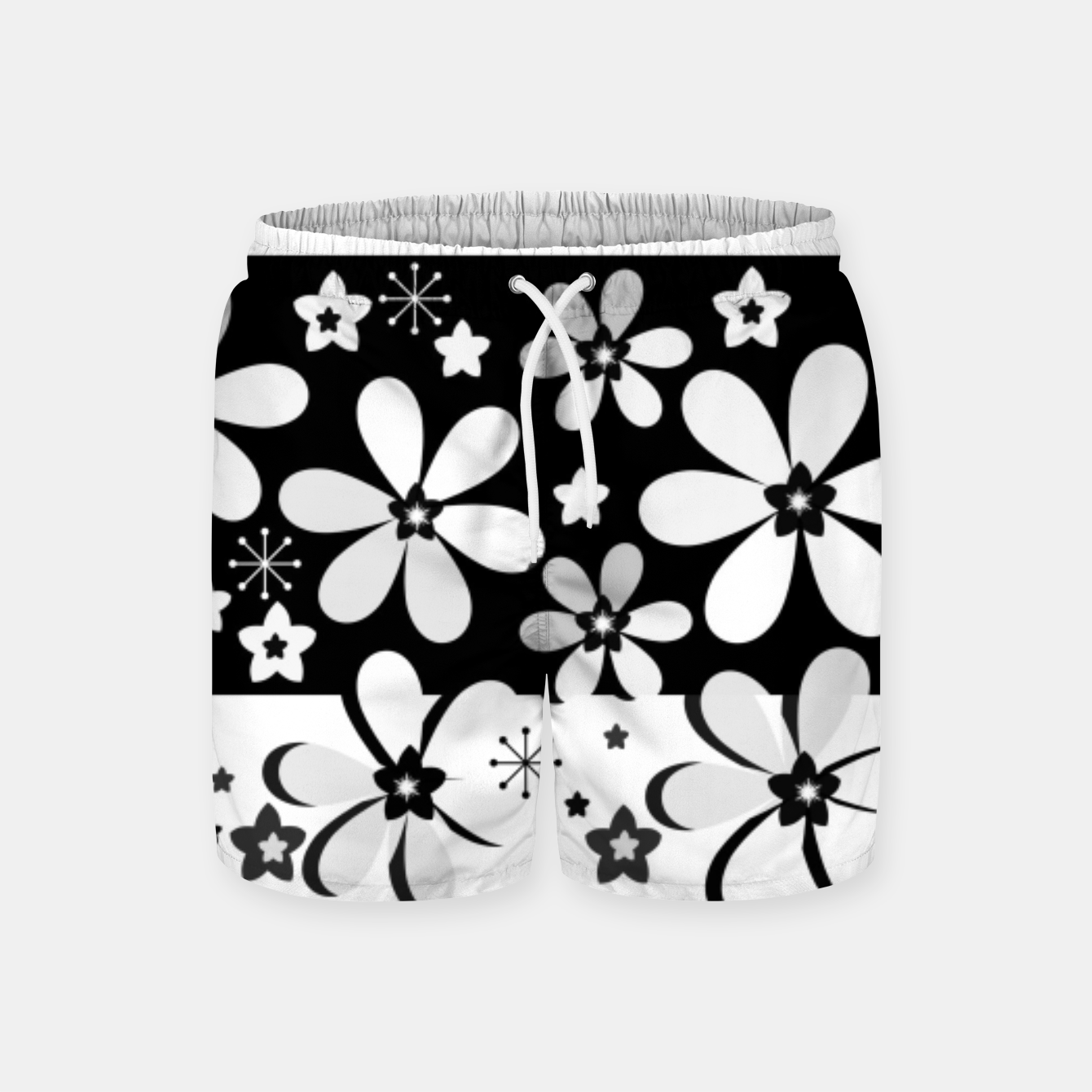 Image of  Black and white daisies Swim Shorts - Live Heroes