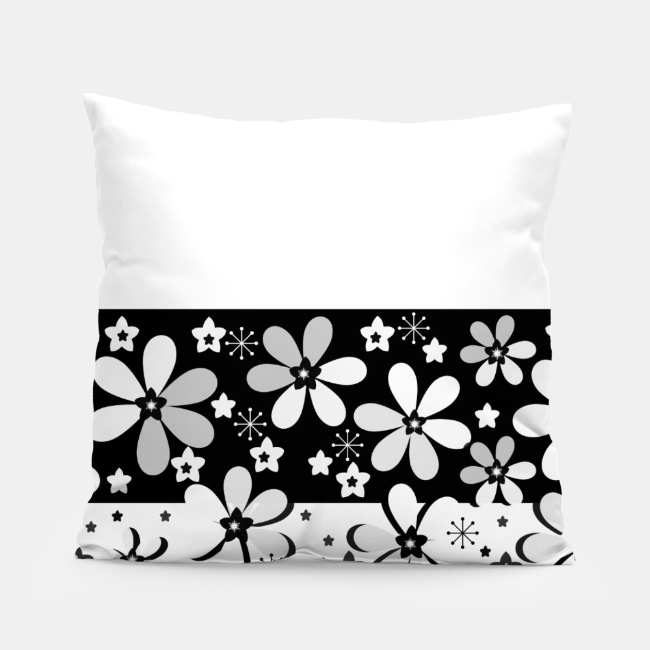 Image of  Black and white daisies Pillow - Live Heroes