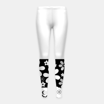 Thumbnail image of  Black and white daisies Girl's leggings, Live Heroes